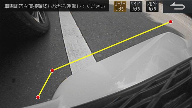 コーナーカメラの映像:すれ違いや狭い場所での切り返しに 死角が映像ではっきりと把握できます(ALPINE提供)