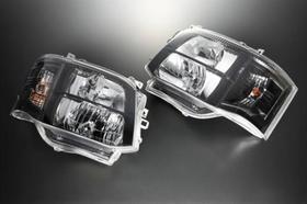 3型仕様クリスタルヘッドライト(クロームブラック・ツヤ有) ハイエース200系変換用(1・2型)