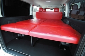 グラファム ベッドKit ver.2 S-GL 5人乗り用(レッド or ブラック) 1・2・3・4型ハイエース200系ワイド