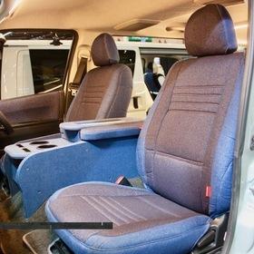 CRAFTPLUS(クラフトプラス)カスタムハイエース 車両名:デニム コンプリート デニムシートカバー、デニムコンソール フロント 東京オートサロン2017出展車両