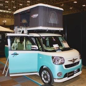 ZIFER JAPAN ルーフテント:マジョリーナ エアランダー ベース車両:ムーヴキャンバス キャンピングカーショー2017出展車両  ルーフテントの元祖「マジョリーナ エアランダー」 さまざまな車に搭載可能。室内スペースに限りがある軽自動車にも最適